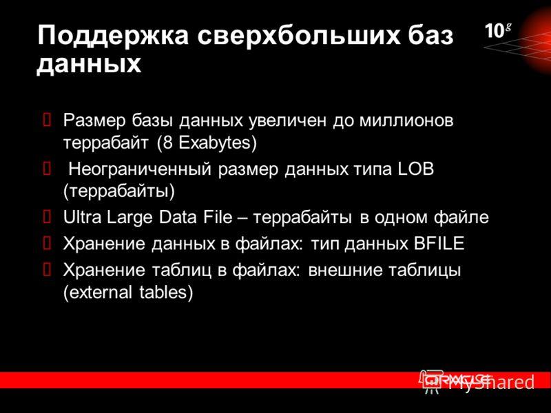 Поддержка сверхбольших баз данных Размер базы данных увеличен до миллионов террабайт (8 Exabytes) Неограниченный размер данных типа LOB (террабайты) Ultra Large Data File – террабайты в одном файле Хранение данных в файлах: тип данных BFILE Хранение