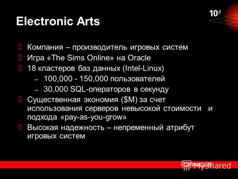 Electronic Arts Компания – производитель игровых систем Игра «The Sims Online» на Oracle 18 кластеров баз данных (Intel-Linux) – 100,000 - 150,000 пользователей – 30,000 SQL-операторов в секунду Существенная экономия ($M) за счет использования сервер