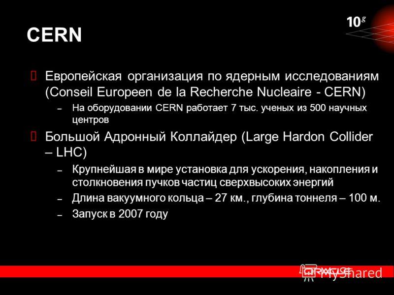 CERN Европейская организация по ядерным исследованиям (Conseil Europeen de la Recherche Nucleaire - CERN) – На оборудовании CERN работает 7 тыс. ученых из 500 научных центров Большой Адронный Коллайдер (Large Hardon Collider – LHC) – Крупнейшая в мир