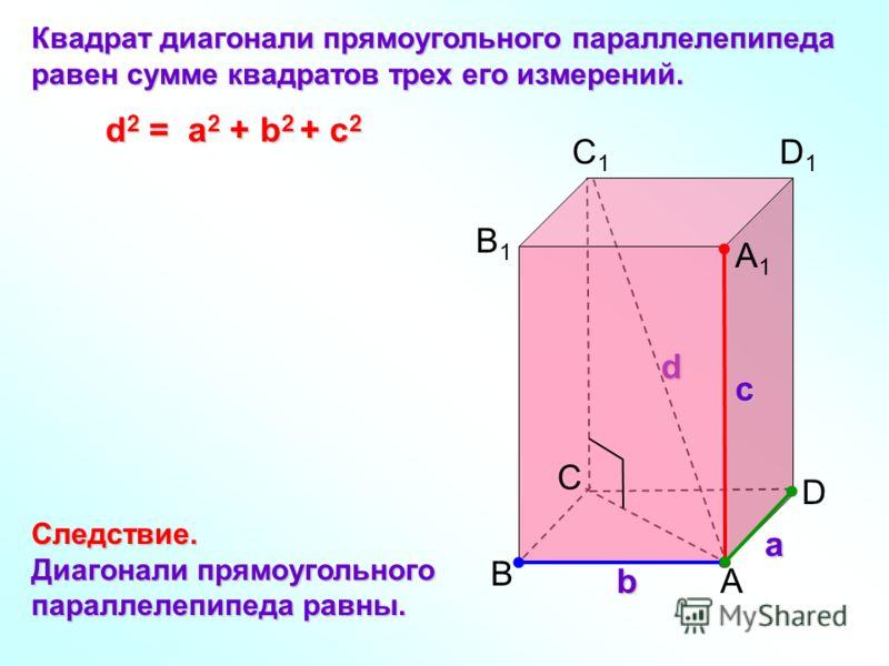 d C а b с B A D B1B1 C1C1 D1D1 A1A1 Квадрат диагонали прямоугольного параллелепипеда равен сумме квадратов трех его измерений. Следствие. Диагонали прямоугольного параллелепипеда равны. d 2 = a 2 + b 2 + с 2