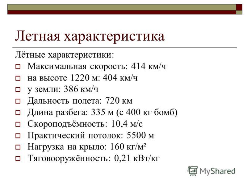 Летная характеристика Лётные характеристики: Максимальная скорость: 414 км/ч на высоте 1220 м: 404 км/ч у земли: 386 км/ч Дальность полета: 720 км Длина разбега: 335 м (с 400 кг бомб) Скороподъёмность: 10,4 м/с Практический потолок: 5500 м Нагрузка н