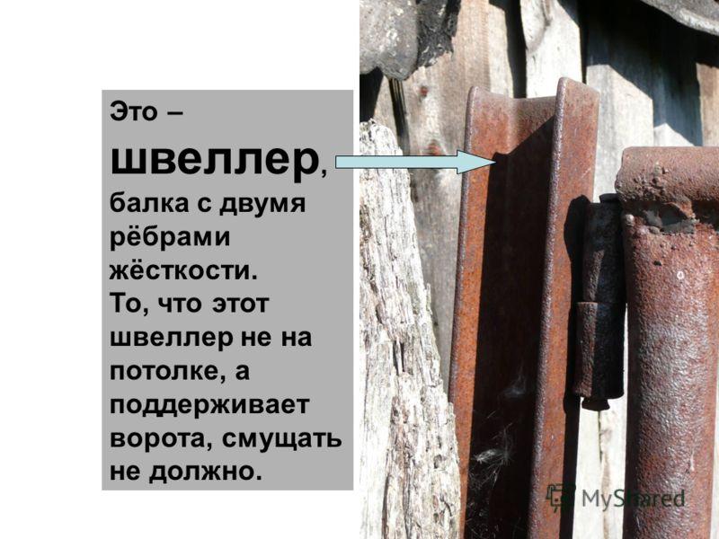 Это – швеллер, балка с двумя рёбрами жёсткости. То, что этот швеллер не на потолке, а поддерживает ворота, смущать не должно.