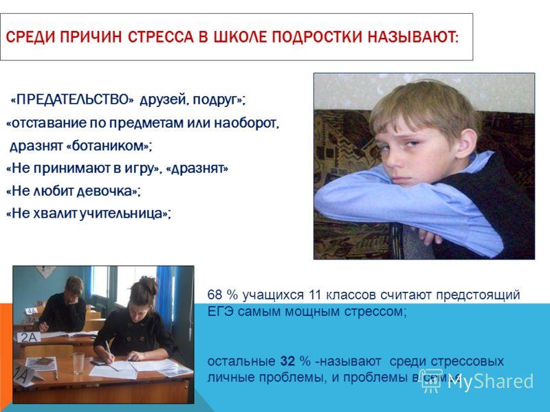 СРЕДИ ПРИЧИН СТРЕССА В ШКОЛЕ ПОДРОСТКИ НАЗЫВАЮТ: «ПРЕДАТЕЛЬСТВО» друзей, подруг»; «отставание по предметам или наоборот, дразнят «ботаником»; «Не принимают в игру», «дразнят» «Не любит девочка»; «Не хвалит учительница»; 68 % учащихся 11 классов счита