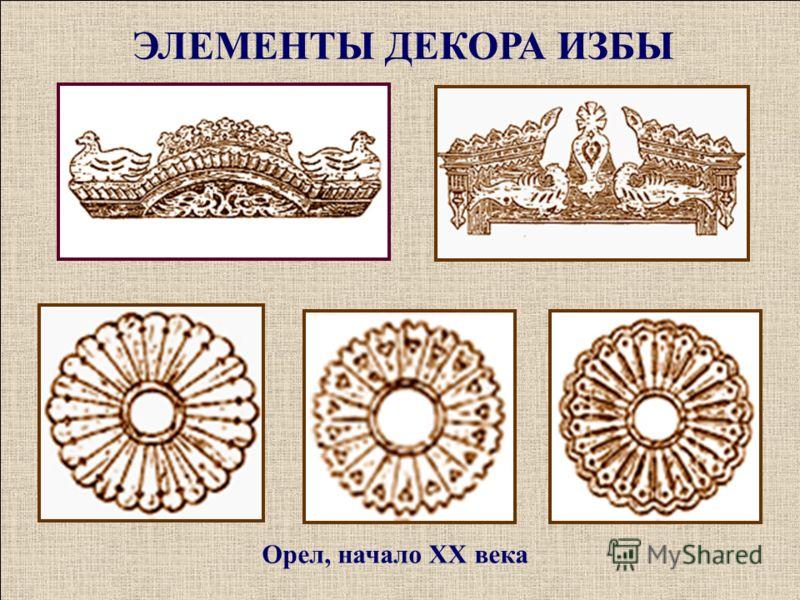 Орел, начало ХХ века ЭЛЕМЕНТЫ ДЕКОРА ИЗБЫ