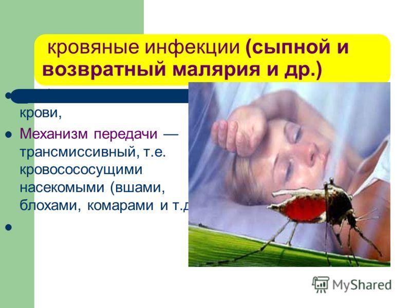 кровяные инфекции (сыпной и возвратный малярия и др.) возбудитель находится в крови, Механизм передачи трансмиссивный, т.е. кровосососущими насекомыми (вшами, блохами, комарами и т.д.