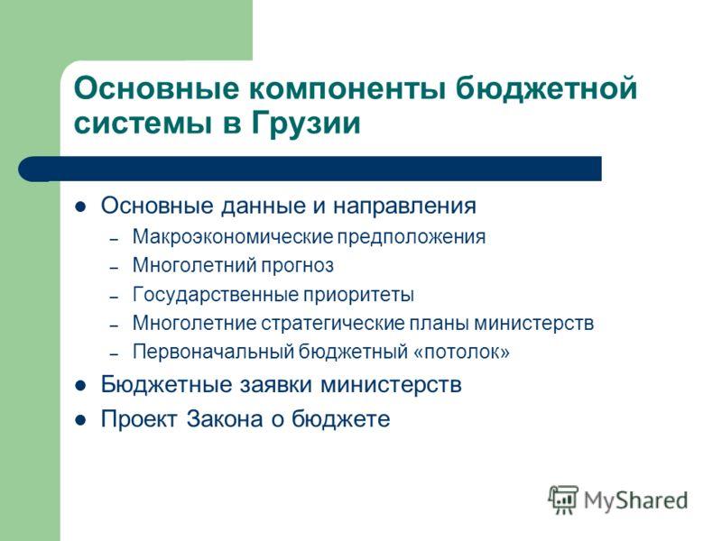 Основные компоненты бюджетной системы в Грузии Основные данные и направления – Макроэкономические предположения – Многолетний прогноз – Государственные приоритеты – Многолетние стратегические планы министерств – Первоначальный бюджетный «потолок» Бюд