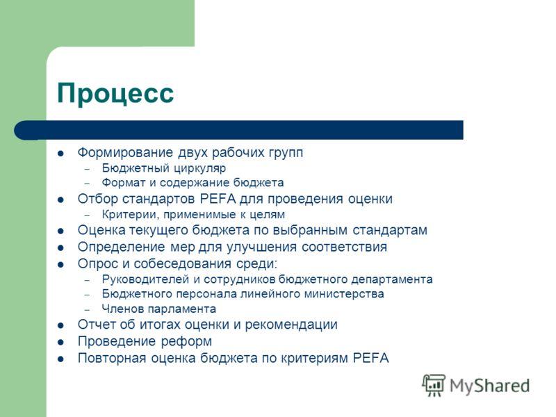 Процесс Формирование двух рабочих групп – Бюджетный циркуляр – Формат и содержание бюджета Отбор стандартов PEFA для проведения оценки – Критерии, применимые к целям Оценка текущего бюджета по выбранным стандартам Определение мер для улучшения соотве