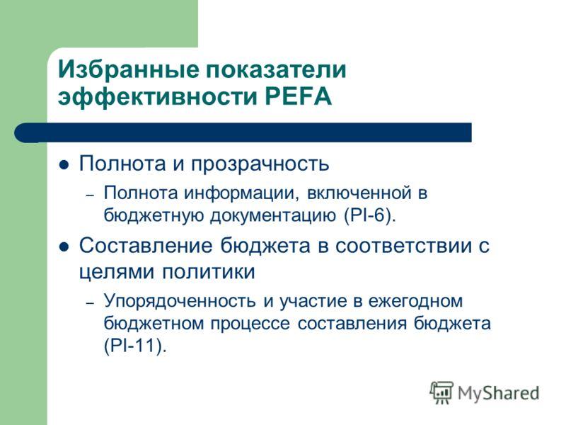 Избранные показатели эффективности PEFA Полнота и прозрачность – Полнота информации, включенной в бюджетную документацию (PI-6). Составление бюджета в соответствии с целями политики – Упорядоченность и участие в ежегодном бюджетном процессе составлен