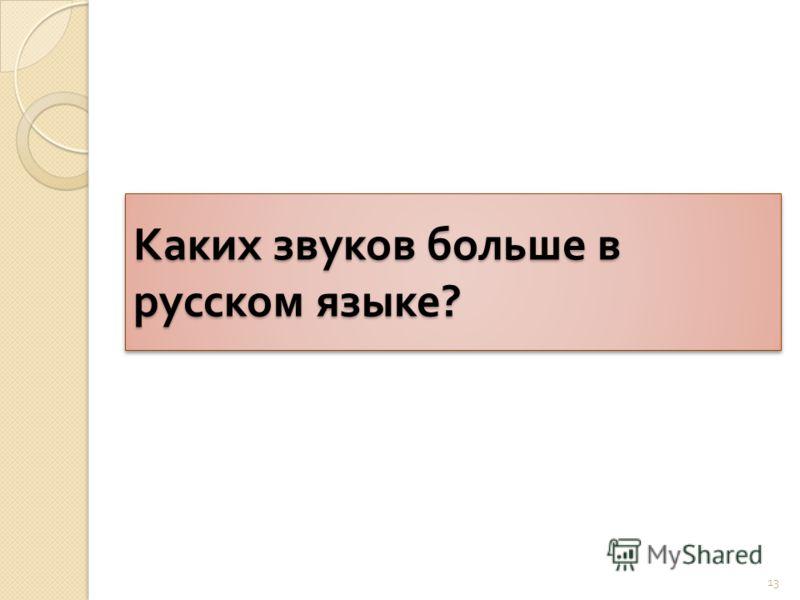 Каких звуков больше в русском языке ? 13