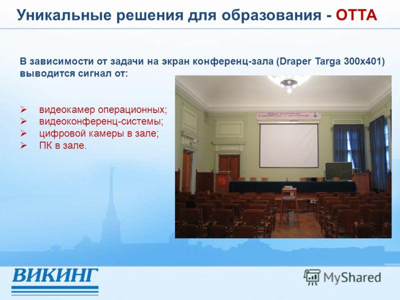 Уникальные решения для образования - ОТТА В зависимости от задачи на экран конференц-зала (Draper Targa 300x401) выводится сигнал от: видеокамер операционных; видеоконференц-системы; цифровой камеры в зале; ПК в зале.