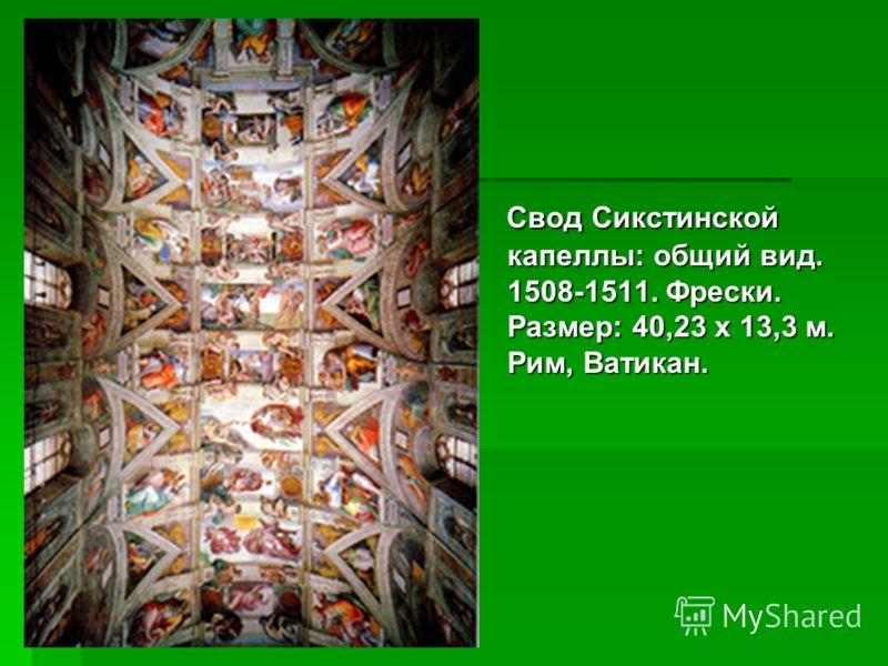 Свод Сикстинской капеллы: общий вид. 1508-1511. Фрески. Размер: 40,23 х 13,3 м. Рим, Ватикан. Свод Сикстинской капеллы: общий вид. 1508-1511. Фрески. Размер: 40,23 х 13,3 м. Рим, Ватикан.
