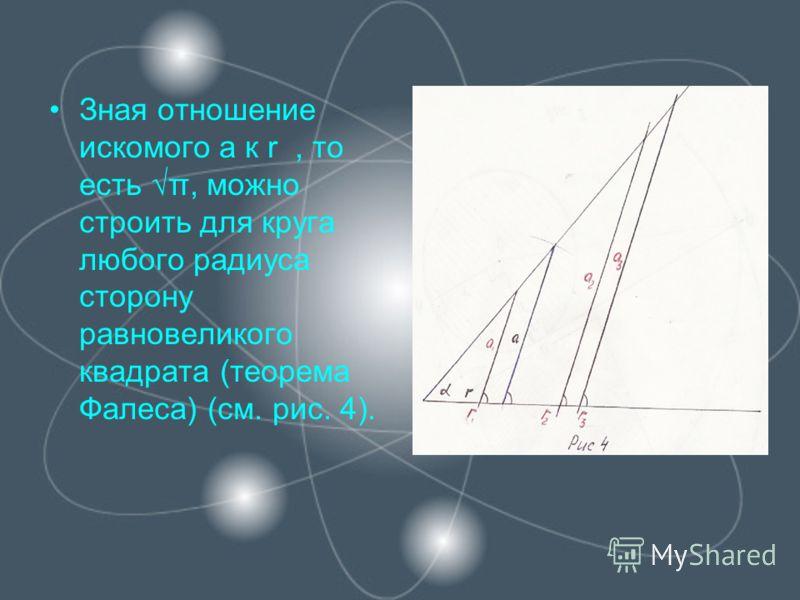 Зная отношение искомого а к r, то есть π, можно строить для круга любого радиуса сторону равновеликого квадрата (теорема Фалеса) (см. рис. 4).
