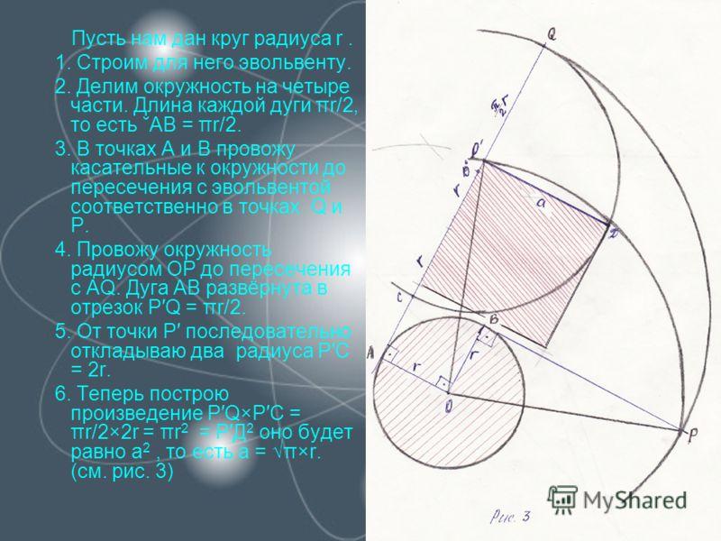 Пусть нам дан круг радиуса r. 1. Строим для него эвольвенту. 2. Делим окружность на четыре части. Длина каждой дуги πr/2, то есть ˘АВ = πr/2. 3. В точках А и В провожу касательные к окружности до пересечения с эвольвентой соответственно в точках Q и