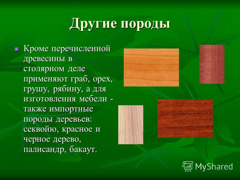 Другие породы Кроме перечисленной древесины в столярном деле применяют граб, орех, грушу, рябину, а для изготовления мебели - также импортные породы деревьев: секвойю, красное и черное дерево, палисандр, бакаут. Кроме перечисленной древесины в столяр