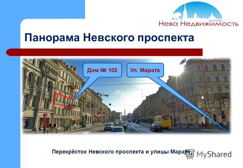 Панорама Невского проспекта Дом 102 Перекрёсток Невского проспекта и улицы Марата Ул. Марата