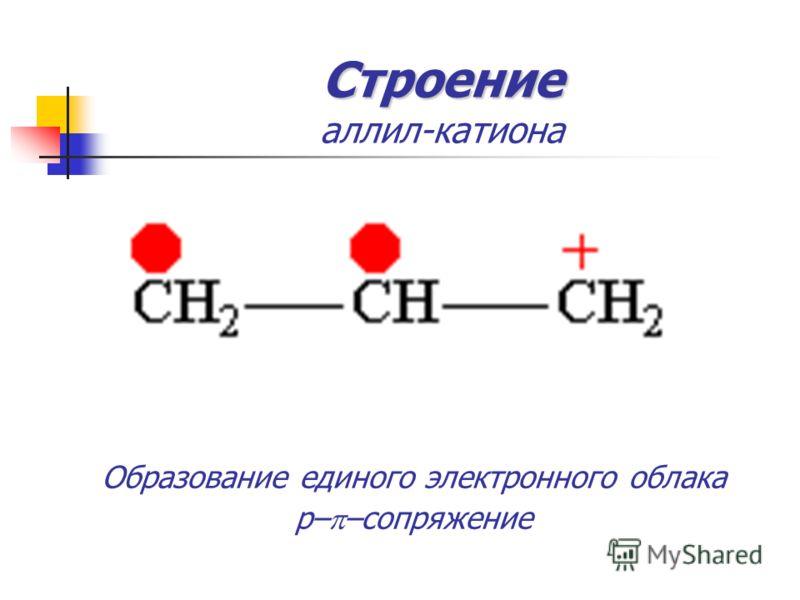 Строение Строение аллил-катиона Образование единого электронного облака p– –сопряжение Образование единого электронного облака p– –сопряжение