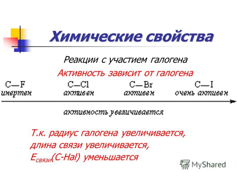 Химические свойства Реакции с участием галогена Активность зависит от галогена Т.к. радиус галогена увеличивается, длина связи увеличивается, Е связи (С-Hal) уменьшается