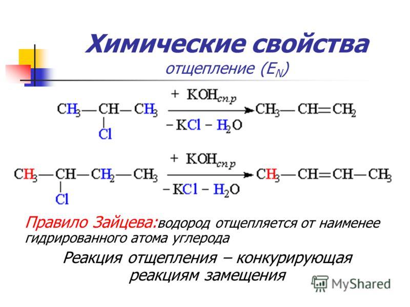 Химические свойства отщепление (Е N ) Правило Зайцева: водород отщепляется от наименее гидрированного атома углерода Реакция отщепления – конкурирующая реакциям замещения