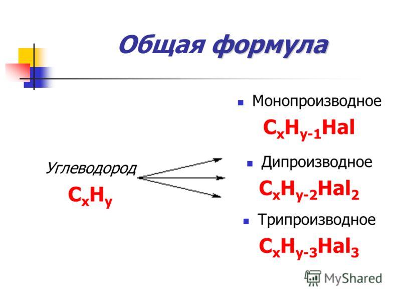 формула Общая формула Углеводород СxHyСxHy Монопроизводное С x H y-1 Hal Дипроизводное С x H y-2 Hal 2 Трипроизводное С x H y-3 Hal 3