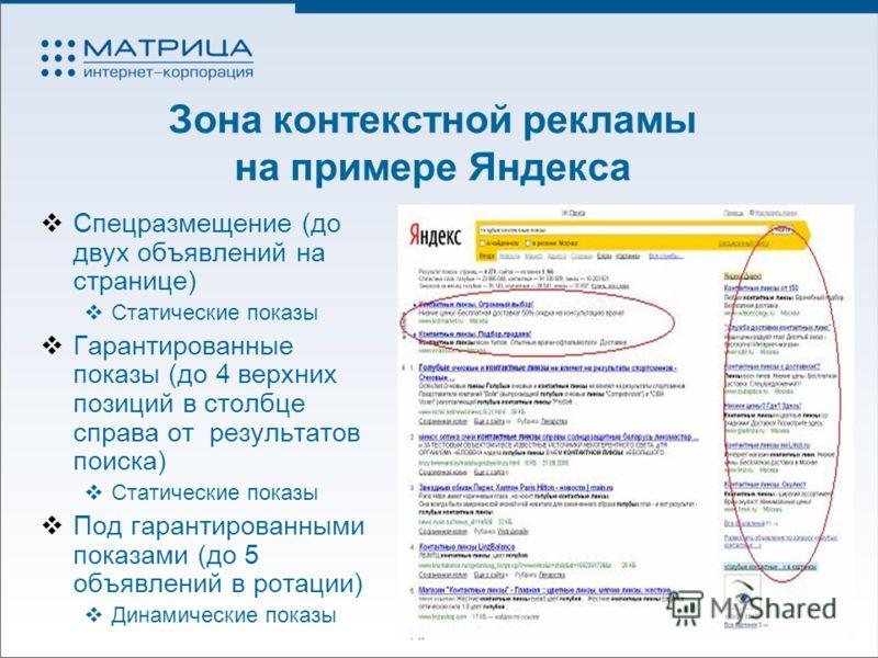 Зона контекстной рекламы на примере Яндекса Спецразмещение (до двух объявлений на странице) Статические показы Гарантированные показы (до 4 верхних позиций в столбце справа от результатов поиска) Статические показы Под гарантированными показами (до 5
