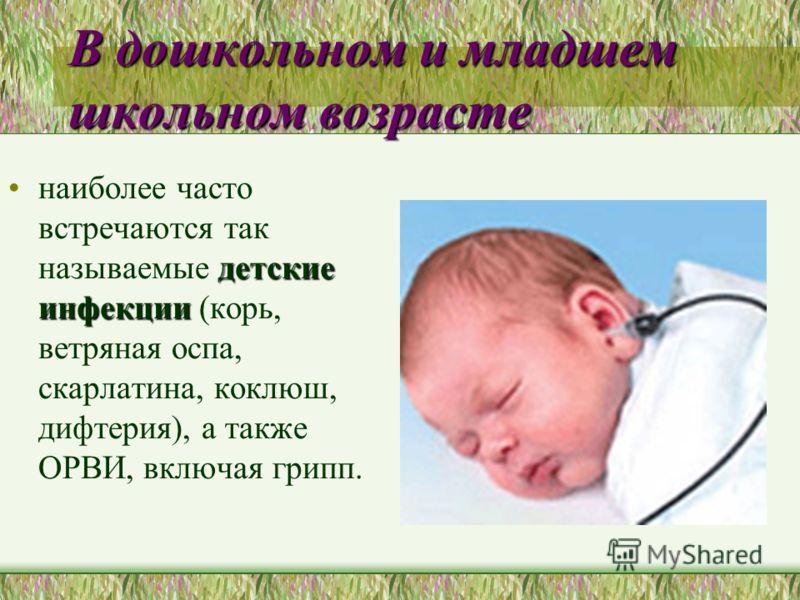 В дошкольном и младшем школьном возрасте детские инфекциинаиболее часто встречаются так называемые детские инфекции (корь, ветряная оспа, скарлатина,