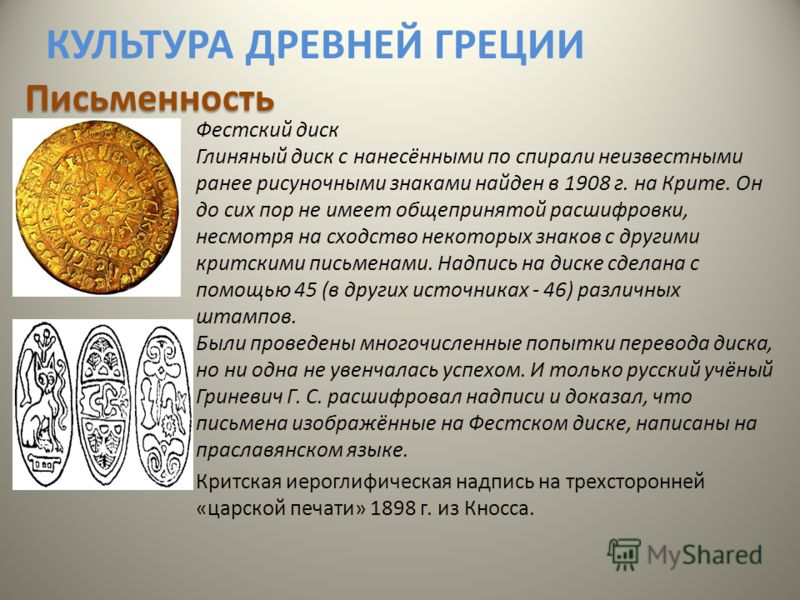 КУЛЬТУРА ДРЕВНЕЙ ГРЕЦИИ Фестский диск Глиняный диск с нанесёнными по спирали неизвестными ранее рисуночными знаками найден в 1908 г. на Крите. Он до сих пор не имеет общепринятой расшифровки, несмотря на сходство некоторых знаков с другими критскими