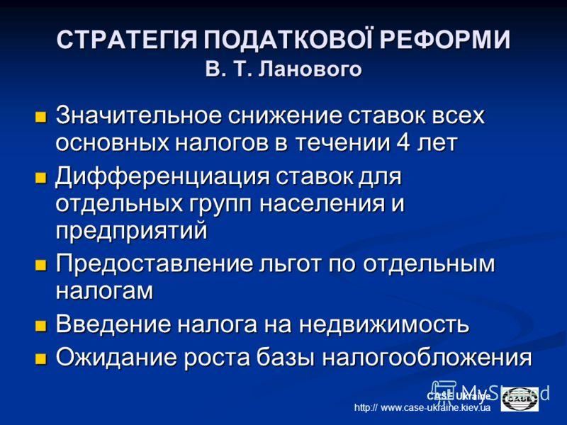 CASE Ukraine http:// www.case-ukraine.kiev.ua СТРАТЕГІЯ ПОДАТКОВОЇ РЕФОРМИ В. Т. Ланового Значительное снижение ставок всех основных налогов в течении 4 лет Значительное снижение ставок всех основных налогов в течении 4 лет Дифференциация ставок для