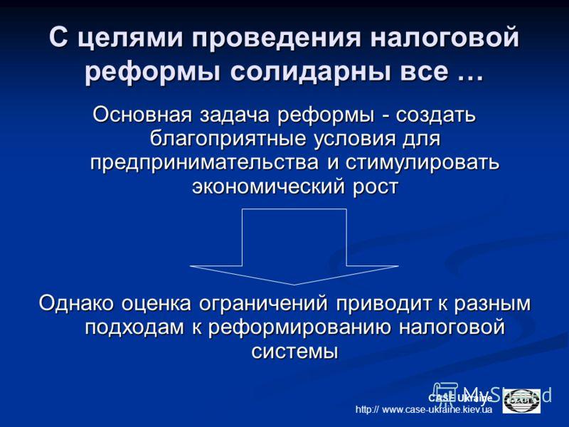 CASE Ukraine http:// www.case-ukraine.kiev.ua С целями проведения налоговой реформы солидарны все … Основная задача реформы - создать благоприятные условия для предпринимательства и стимулировать экономический рост Однако оценка ограничений приводит