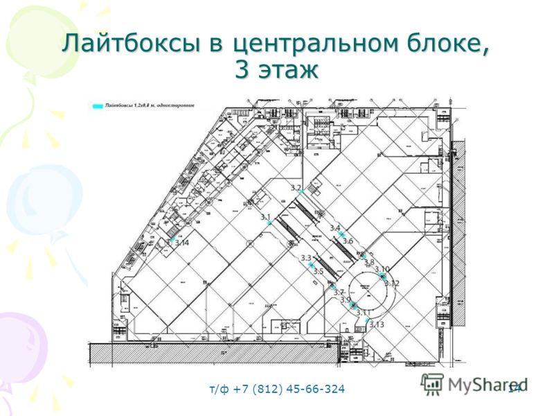 т/ф +7 (812) 45-66-324 14 Лайтбоксы в центральном блоке, 3 этаж
