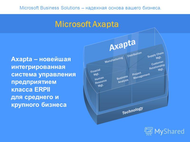 Microsoft Business Solutions – надежная основа вашего бизнеса. Microsoft Axapta Axapta – новейшая интегрированная система управления предприятием класса ERPII для среднего и крупного бизнеса