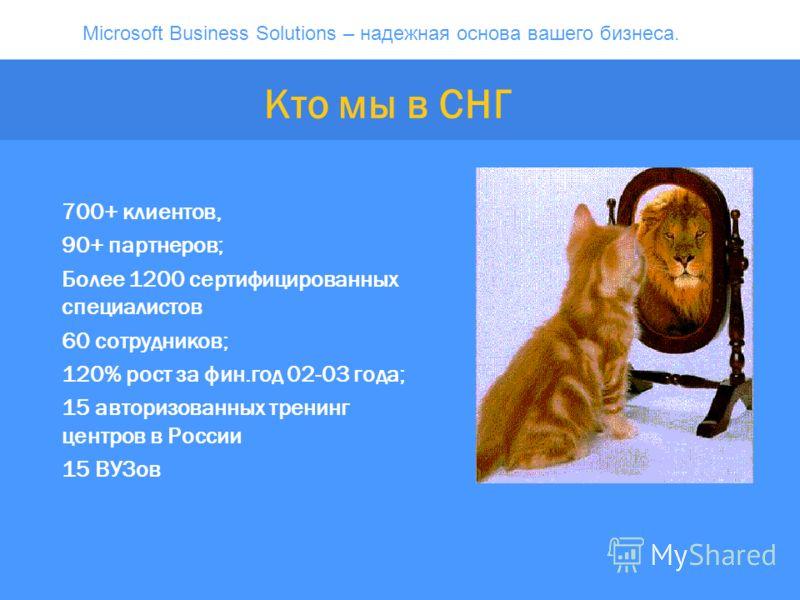 Microsoft Business Solutions – надежная основа вашего бизнеса. Кто мы в СНГ 700+ клиентов, 90+ партнеров; Более 1200 сертифицированных специалистов 60 сотрудников; 120% рост за фин.год 02-03 года; 15 авторизованных тренинг центров в России 15 ВУЗов