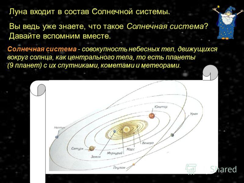Луна входит в состав Солнечной системы. Вы ведь уже знаете, что такое Солнечная система? Давайте вспомним вместе. Солнечная система - совокупность небесных тел, движущихся вокруг солнца, как центрального тела, то есть планеты (9 планет) с их спутника