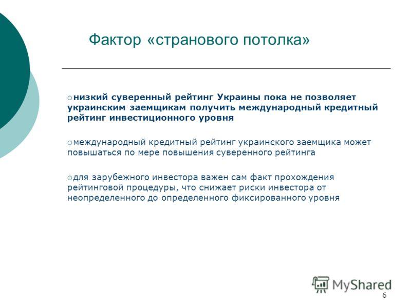 6 Фактор «странового потолка» низкий суверенный рейтинг Украины пока не позволяет украинским заемщикам получить международный кредитный рейтинг инвестиционного уровня международный кредитный рейтинг украинского заемщика может повышаться по мере повыш