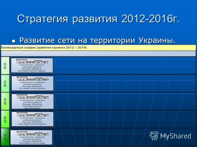 Стратегия развития 2012-2016г. Развитие сети на территории Украины. Развитие сети на территории Украины.