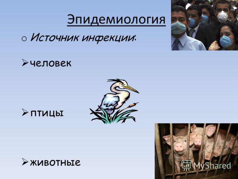 Эпидемиология o Источник инфекции: человек птицы животные