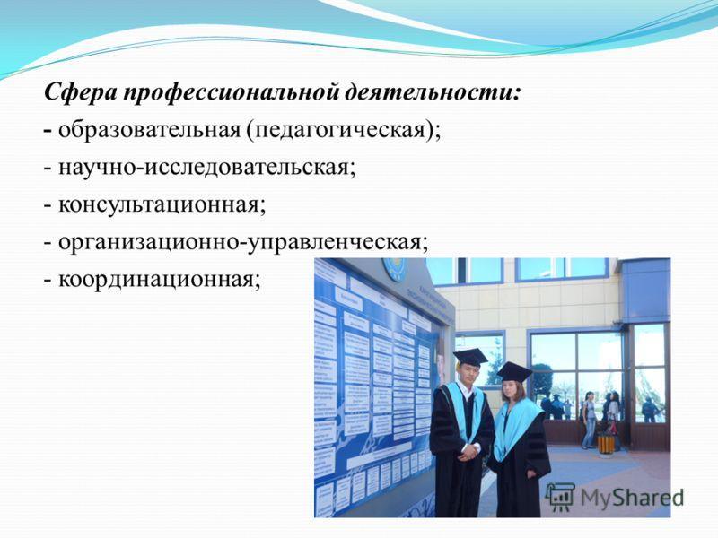 Сфера профессиональной деятельности: - образовательная (педагогическая); - научно-исследовательская; - консультационная; - организационно-управленческая; - координационная;