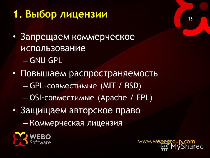 www.webogroup.com 13 1. Выбор лицензии Запрещаем коммерческое использование – GNU GPL Повышаем распространяемость – GPL-совместимые (MIT / BSD) – OSI-совместимые (Apache / EPL) Защищаем авторское право – Коммерческая лицензия