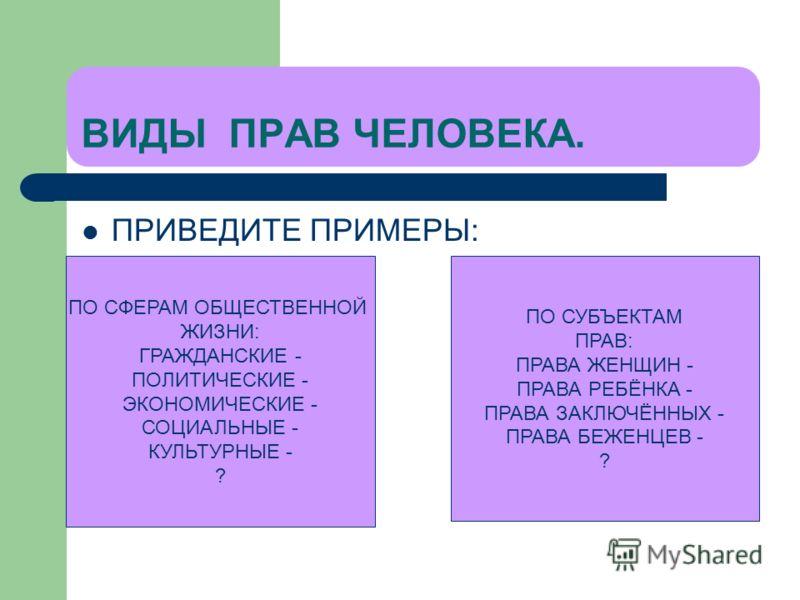 ВИДЫ ПРАВ ЧЕЛОВЕКА. ПРИВЕДИТЕ ПРИМЕРЫ: ПО СФЕРАМ ОБЩЕСТВЕННОЙ ЖИЗНИ: ГРАЖДАНСКИЕ - ПОЛИТИЧЕСКИЕ - ЭКОНОМИЧЕСКИЕ - СОЦИАЛЬНЫЕ - КУЛЬТУРНЫЕ - ? ПО СУБЪЕКТАМ ПРАВ: ПРАВА ЖЕНЩИН - ПРАВА РЕБЁНКА - ПРАВА ЗАКЛЮЧЁННЫХ - ПРАВА БЕЖЕНЦЕВ - ?