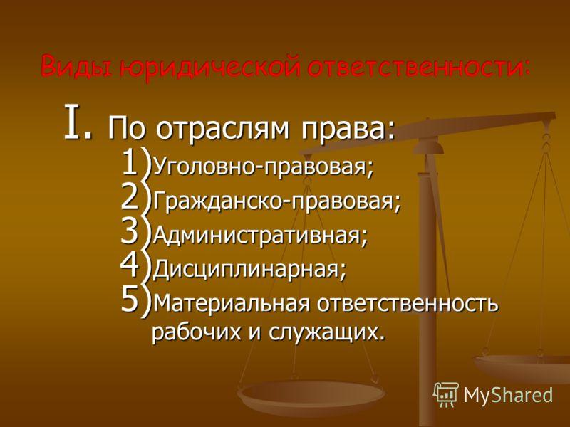 I. По отраслям права: 1) Уголовно-правовая; 2) Гражданско-правовая; 3) Административная; 4) Дисциплинарная; 5) Материальная ответственность рабочих и служащих.
