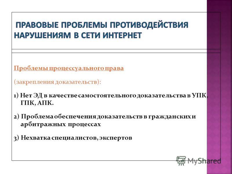 Проблемы процессуального права (закрепления доказательств): 1) Нет ЭД в качестве самостоятельного доказательства в УПК, ГПК, АПК. 2) Проблема обеспечения доказательств в гражданских и арбитражных процессах 3) Нехватка специалистов, экспертов