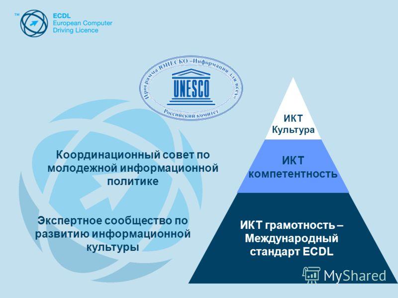 ИКТ грамотность – Международный стандарт ECDL ИКТ компетентность ИКТ Культура Координационный совет по молодежной информационной политике Экспертное сообщество по развитию информационной культуры