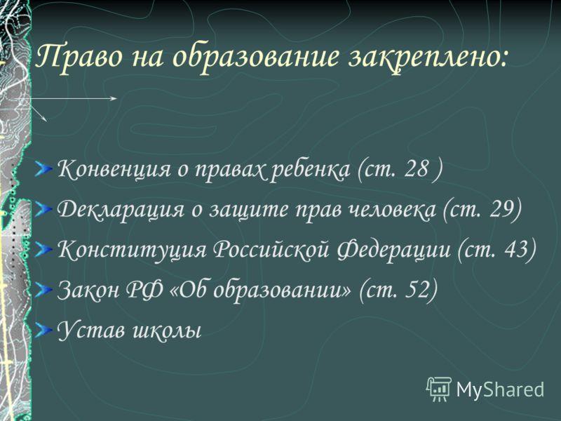 Право на образование закреплено: Конвенция о правах ребенка (ст. 28 ) Декларация о защите прав человека (ст. 29) Конституция Российской Федерации (ст. 43) Закон РФ «Об образовании» (ст. 52) Устав школы