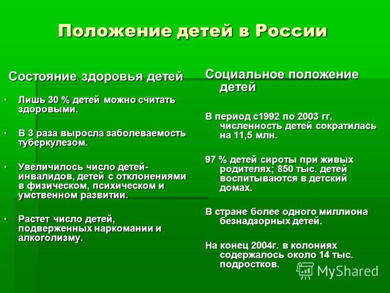 Положение детей в России Состояние здоровья детей Лишь 30 % детей можно считать здоровыми.Лишь 30 % детей можно считать здоровыми. В 3 раза выросла заболеваемость туберкулезом.В 3 раза выросла заболеваемость туберкулезом. Увеличилось число детей- инв