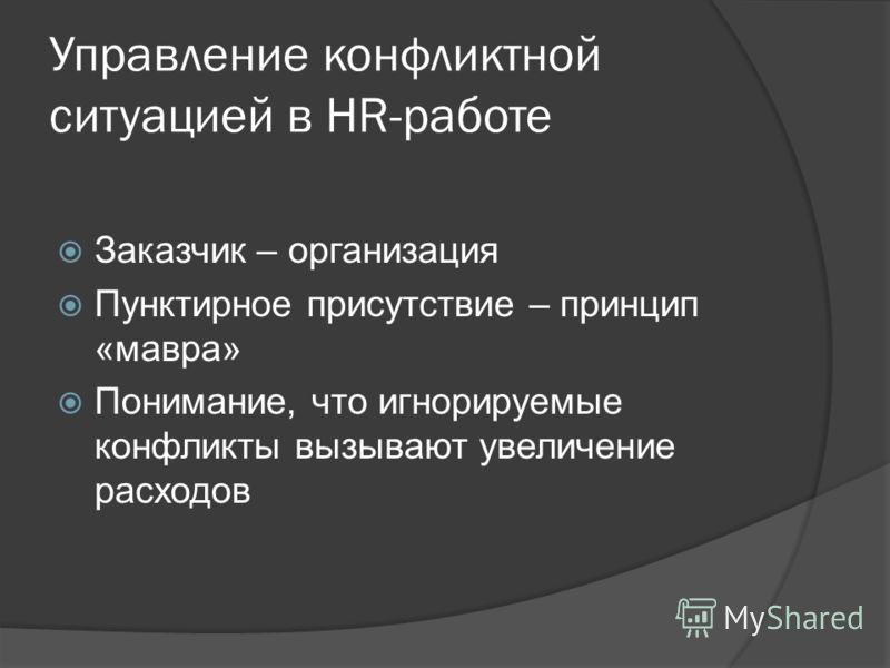 Управление конфликтной ситуацией в HR-работе Заказчик – организация Пунктирное присутствие – принцип «мавра» Понимание, что игнорируемые конфликты вызывают увеличение расходов