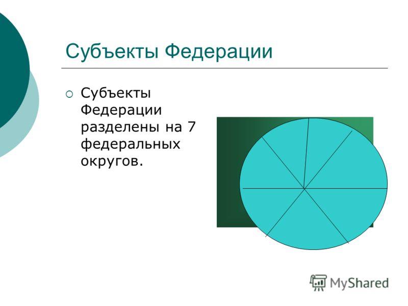 Субъекты Федерации Субъекты Федерации разделены на 7 федеральных округов.