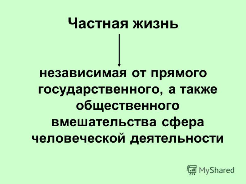 Частная жизнь независимая от прямого государственного, а также общественного вмешательства сфера человеческой деятельности
