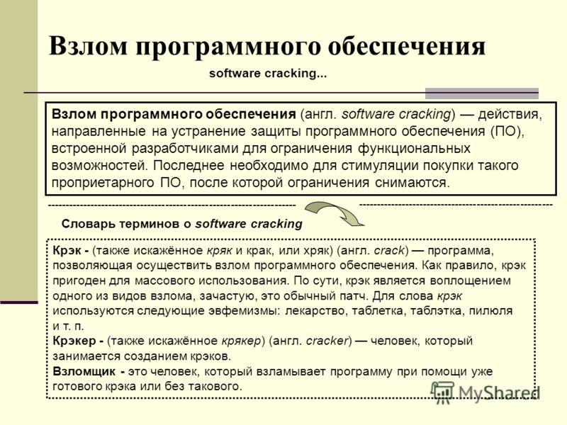 Взлом программного обеспечения software cracking... Взлом программного обеспечения (англ. software cracking) действия, направленные на устранение защиты программного обеспечения (ПО), встроенной разработчиками для ограничения функциональных возможнос
