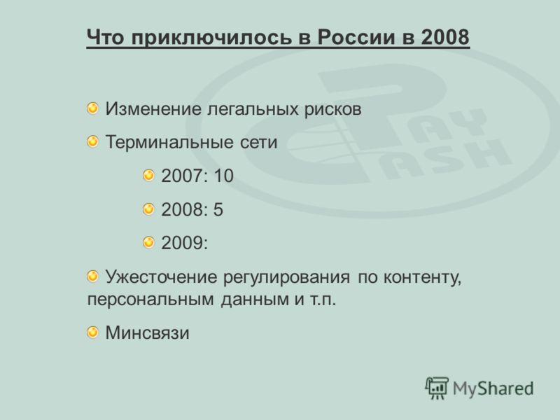 Изменение легальных рисков Терминальные сети 2007: 10 2008: 5 2009: Ужесточение регулирования по контенту, персональным данным и т.п. Минсвязи Что приключилось в России в 2008