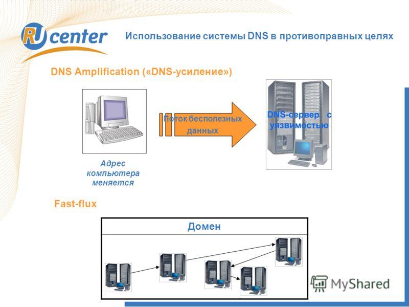 Использование системы DNS в противоправных целях Адрес компьютера меняется DNS Amplification («DNS-усиление») Поток бесполезных данных Fast-flux Домен