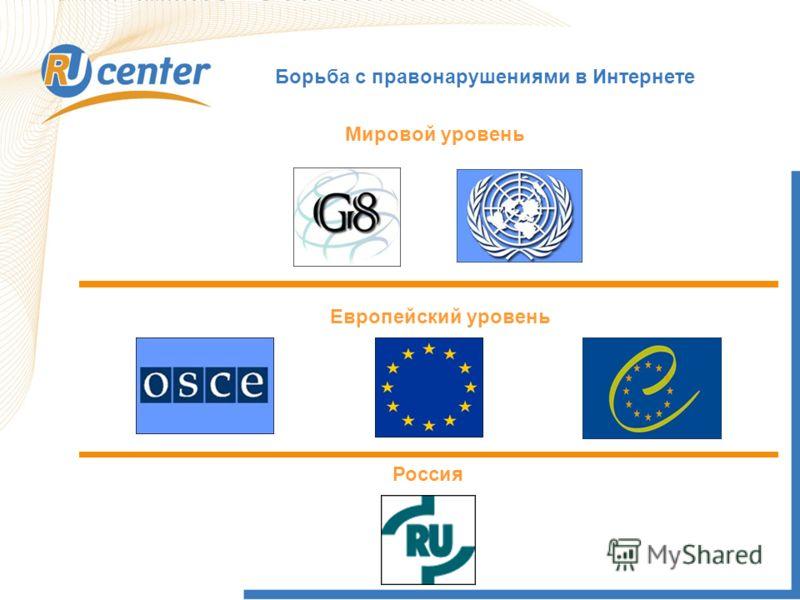 Борьба с правонарушениями в Интернете Мировой уровень Европейский уровень Россия